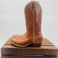 Double H Leather Cowboy Western Boots Men's size 8.5D Brown Preowned