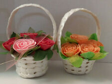 Valentine's gift basket with Handmade Foam Roses for her. Battery operated light
