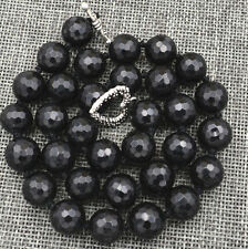"""HOT Faceted 12mm Black Agate Onyx Round Gemstone Beads Necklace 18"""" AAA"""