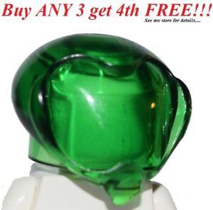 ☀️NEW Lego Minifig Hat Trans Green Headgear Helmet Round Bubble Alien Spac
