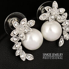 Gorgeous New Rhinestone Pearl Stud Earrings For Bridal Wedding White Gold Plated