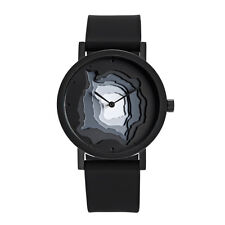 "Projects Watches ""Terra-Time Black"" Quartz Homme Acier Noir Silicon Montre"