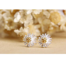 Cute New Two-Tone Sterling Silver Plated Flower Stud Post Earrings