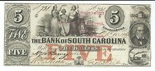 South Carolina Charleston Bank $5 1861 signed issued red overprint low #731