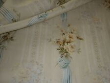 Antique French Floral Roses Ribbon Garland Stripe Fabric~Yellow Olive Teal Blue