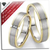 2 Trauringe Eheringe 925 Silber mit DIAMANT+GRAVUR+GOLD Platiert+SOLITÄRRING 134