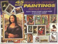 45 Genuine Postage Stamps Assortment - Paintings