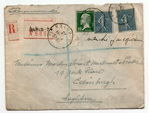 Registered envelope Paris France - Edinburgh Scotland super 50c blue & 10c green