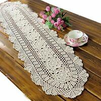 Beige Vintage Lace Table Runner Hand Crochet Dresser Scarf Oval Doily Placemats