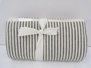 """Pottery Barn Wheaton Striped Linen Cotton Table Runner 108"""" L Charcoal #9839"""