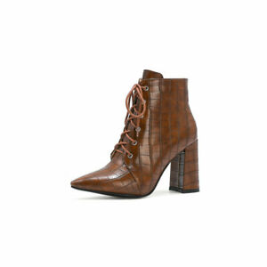 Fashion Womens Block Heel Pointed Toe Party Shoes Zip Up Lace Up Ankle Boots New