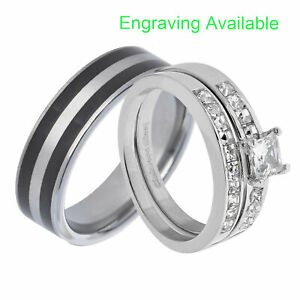 His & Hers Wedding Rings Sets Stainless Steel Princess CZ Tungsten Men Band AA