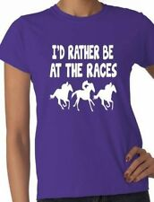 I'd Rather Be At The Races Horse Ladies T Shirt Gift Size S-XXL
