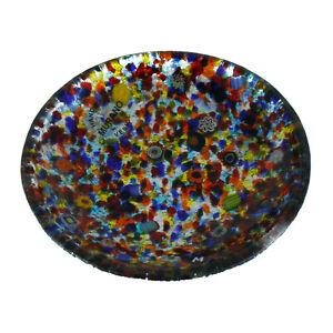 Murano Glass Plate Silver Multi Coloured Circular Millefiori Venice