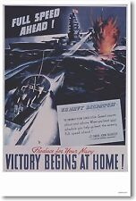 Full Speed Ahead - Victory Begins at Home - NEW Vintage WW2 Art Print POSTER