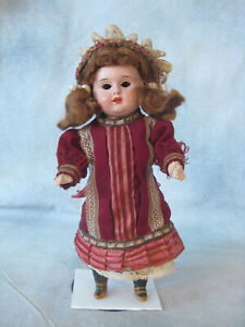 """Antique Metal Head Doll Glass Eyes all orig wigged 8"""" dollhouse 5pc compo body"""