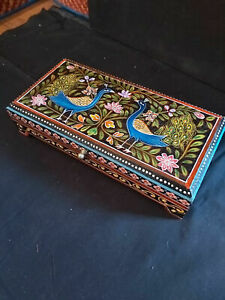 INDIAN HAND PAINTED MANGO WOOD BOX IN A PEACOCK/FLORAL DESIGN