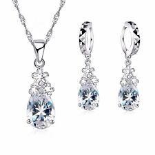 925 Sterling Silver Clear Cubic Zirconia Waterdrop Set. Necklace + Drop Earrings