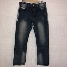 Gs Gs115 Mens Sz 34x33 Jeans Blake Slim Fit Factory Destroyed Distressed Flawed