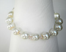 """White 8mm glass pearl and clear bead bracelet 7"""" with 1.5"""" extender"""