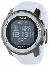 PULSAR WORLD TIME DIGITAL CHRONOGRAPH BLACK DIAL WHITE RUBBER MENS WATCH PQ2015