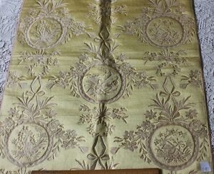 Golden Yellow French Antique Lyon Silk Brocatelle~18thC Style Woven In 19thC