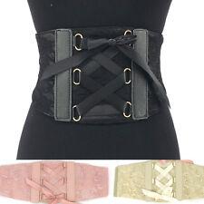 "Women WIDE CORSET TIE HIGH WAIST FASHION Lace PU Leather Elastic BELT stretch 6"""