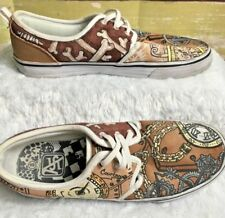Air Speed Mens  Size 8 Hand Painted Canvas Casual Slip On Unique Shoes goth Punk
