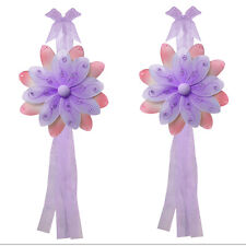 FLOWER TIEBACK Purple Pink Two Tone Curtain Window Nylon Girls Nursery Tie Backs