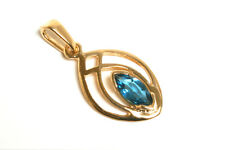 9ct Gold London Blue Topaz Celtic Pendant no chain Gift Boxed Made in UK Xmas