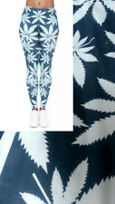 Super Soft Matte Fabric Mint Weed Print Leggings Trousers One size UK 8-12