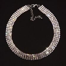 Time to Shine ladies 4 row glamourous diamante choker adjustable 30-37cm (NS7)