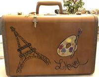 Vintage Samsonite Shwayder Bros Light Brown Hard Suitcase Luggage w/ KEY