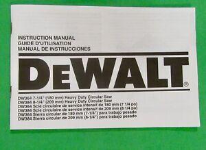 Dewalt DW364 Heavy Duty Saw Instruction Manual ( Guide D'Utilisation)