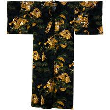 Kimono - Yukata Drache mit Kiefer schwarz Gr.L, original Japan, für Bad + Sauna