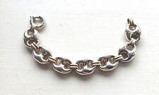 "Signed Italy 925 + 18K Mariner Anchor Link Bracelet 7"" 24 grams"