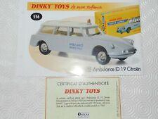 dinky 556 fiche certificat ID 19 CITROEN AMBULANCE