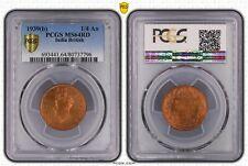 1939(B) INDIA BRITISH PCGS MS64RD BEAUTIFUL RARE COIN! *TRUEVIEW*