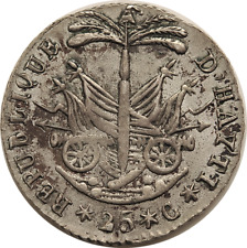 Haiti AN14 (1817) Silver 25 Centimes - nice condition with luster