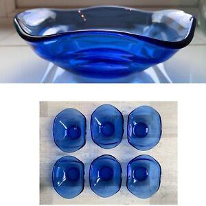 Retro Vintage Glass Colbalt Bristol Blue Geometric Sundae Dishes Bowls Set Of 6