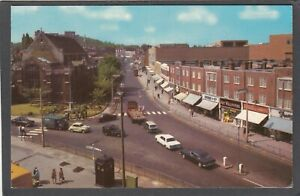 Postcard Harrow Middlesex motor cars Shops in Station Road posted 1972