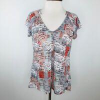 Anthropologie Porridge Blue Orange Script Top Shirt  |  Womens L