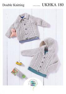 UKHKA 180 Baby Hooded & Collared Cardigan/Jacket Knitting Pattern In DK 41-66cm