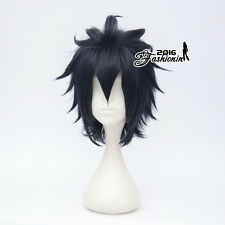 30CM Anime Short Black Blue Layered Men Party Heat Resistant Cosplay Wig Bangs