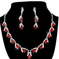 Jewelry Set Bridal Wedding Red Teardrop Pearls Crystal Necklace Earrings  WS