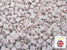 7mm White & Rose Gold Round Letter Coin Beads Jewellery Kids Craft Beading UK
