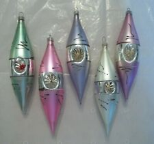 5 Vtg Double Indented Christmas ornaments Icicle or Tear Drops w/Mica Austria
