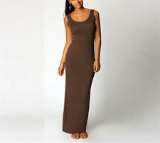 Sleeveless Womens Vest Stretch Sundress Plain Long Dresses Summer Beach Bodycon