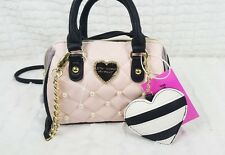 NWT BETSEY JOHNSON WOMEN PINK QUILTED PEARL MINI SATCHEL CROSSBODY BAG