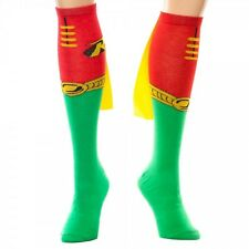 Batman, Robin Green Yellow and Red Knee High Derby Socks with Cape, NEW UNUSED